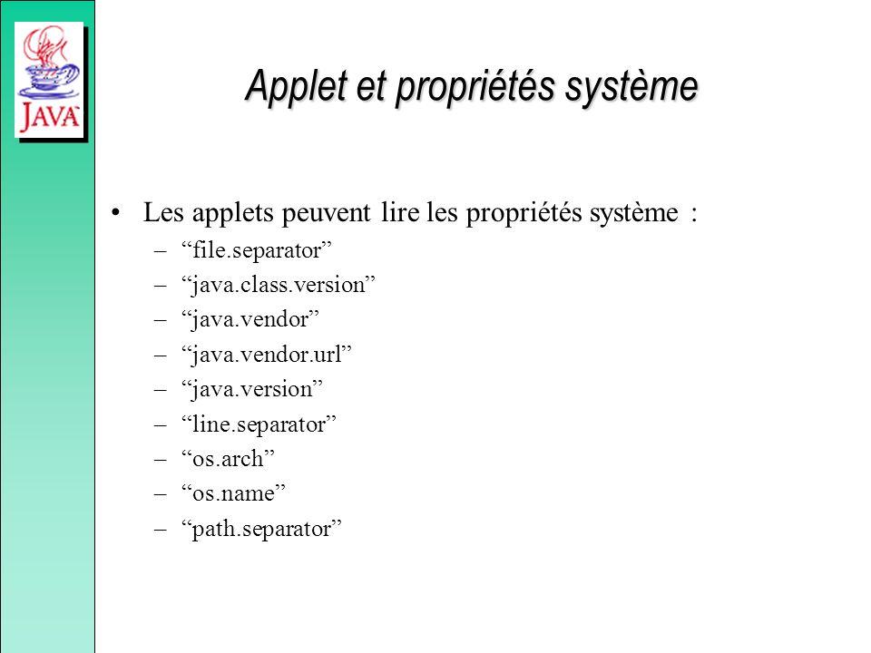 Applet et propriétés système Les applets peuvent lire les propriétés système : –file.separator –java.class.version –java.vendor –java.vendor.url –java