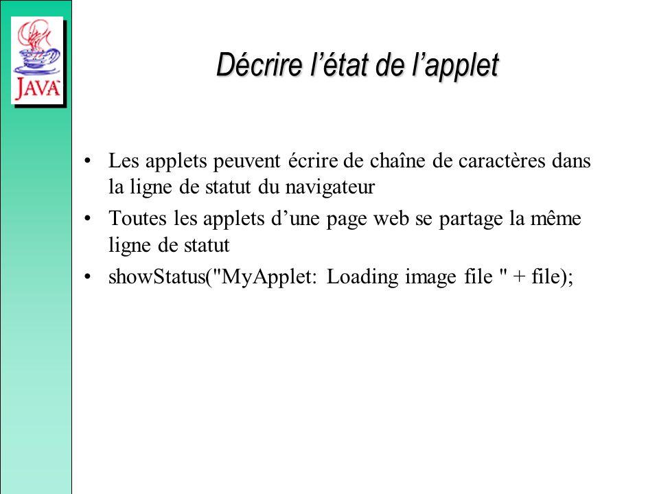Décrire létat de lapplet Les applets peuvent écrire de chaîne de caractères dans la ligne de statut du navigateur Toutes les applets dune page web se