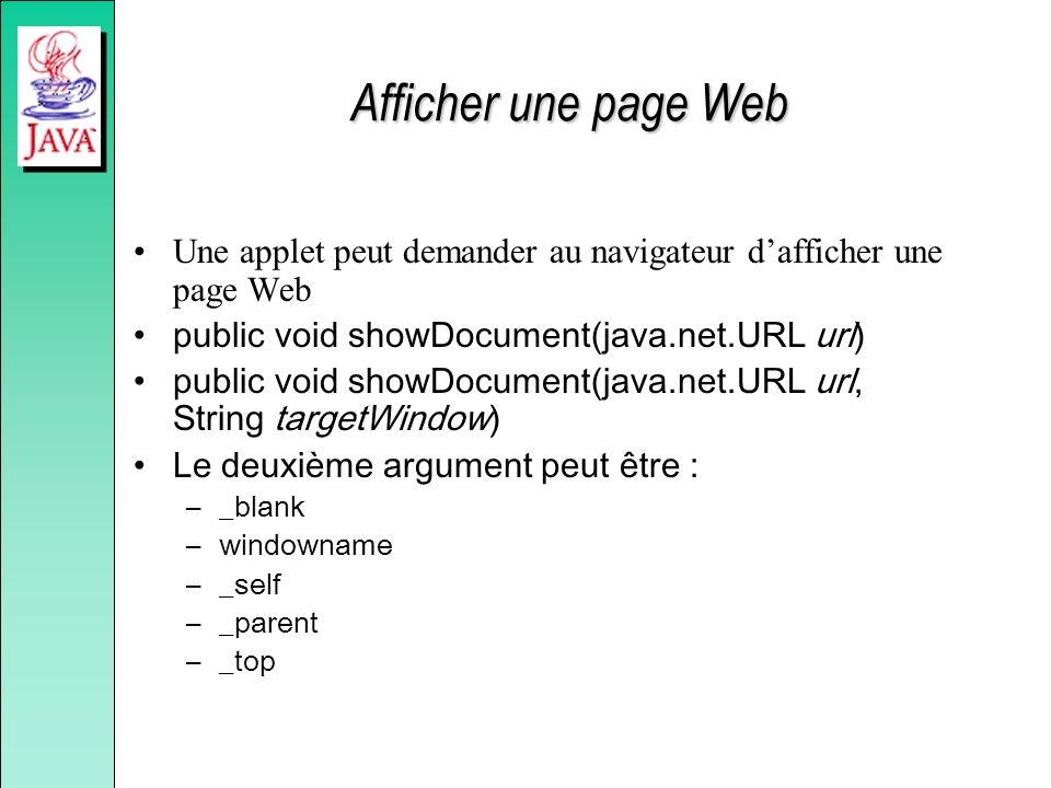 Afficher une page Web Une applet peut demander au navigateur dafficher une page Web public void showDocument(java.net.URL url) public void showDocumen