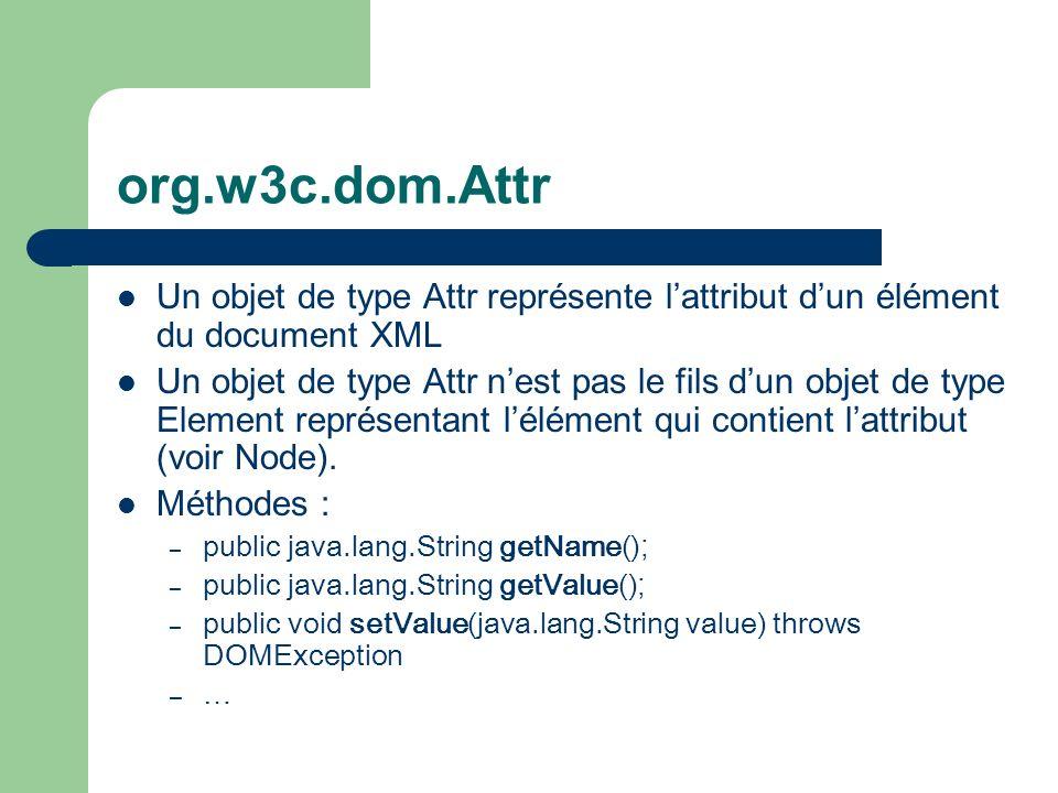 org.w3c.dom.Attr Un objet de type Attr représente lattribut dun élément du document XML Un objet de type Attr nest pas le fils dun objet de type Element représentant lélément qui contient lattribut (voir Node).