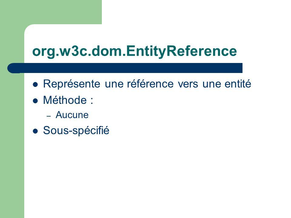 org.w3c.dom.EntityReference Représente une référence vers une entité Méthode : – Aucune Sous-spécifié
