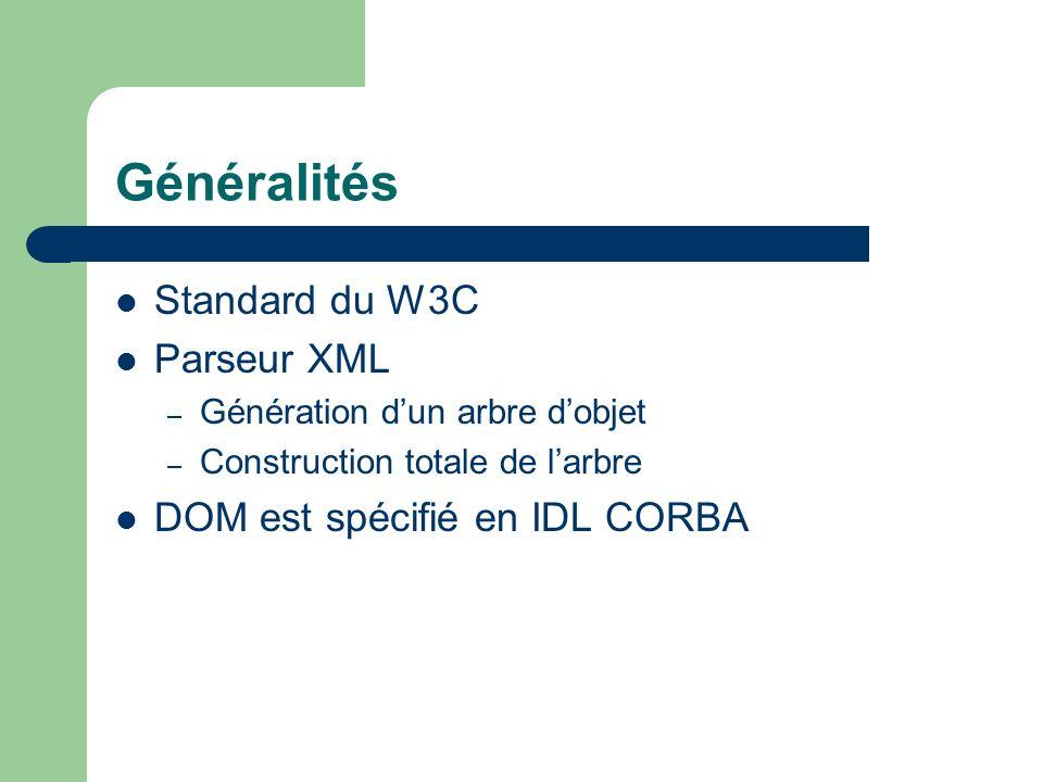 Généralités Standard du W3C Parseur XML – Génération dun arbre dobjet – Construction totale de larbre DOM est spécifié en IDL CORBA