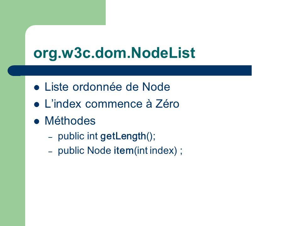 org.w3c.dom.NodeList Liste ordonnée de Node Lindex commence à Zéro Méthodes – public int getLength() ; – public Node item(int index) ;