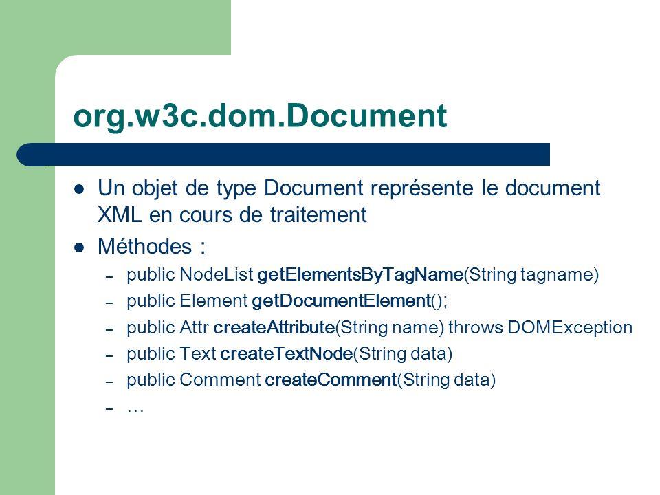 org.w3c.dom.Document Un objet de type Document représente le document XML en cours de traitement Méthodes : – public NodeList getElementsByTagName(String tagname) – public Element getDocumentElement() ; – public Attr createAttribute(String name) throws DOMException – public Text createTextNode(String data) – public Comment createComment(String data) – …