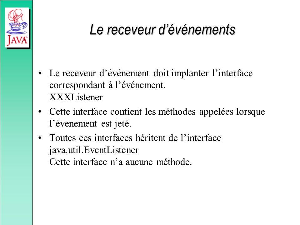 Le receveur dévénements Le receveur dévénement doit implanter linterface correspondant à lévénement.