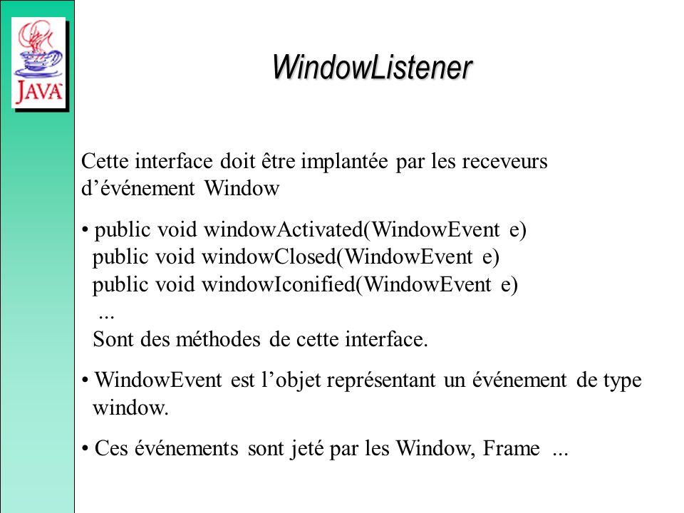 WindowListener Cette interface doit être implantée par les receveurs dévénement Window public void windowActivated(WindowEvent e) public void windowClosed(WindowEvent e) public void windowIconified(WindowEvent e)...