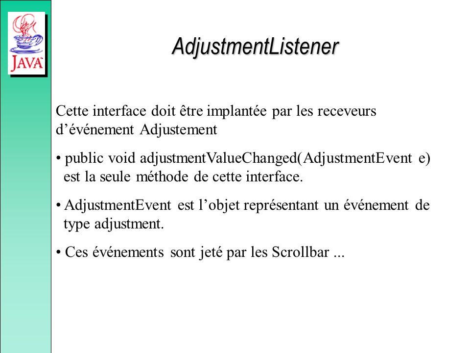 AdjustmentListener Cette interface doit être implantée par les receveurs dévénement Adjustement public void adjustmentValueChanged(AdjustmentEvent e) est la seule méthode de cette interface.