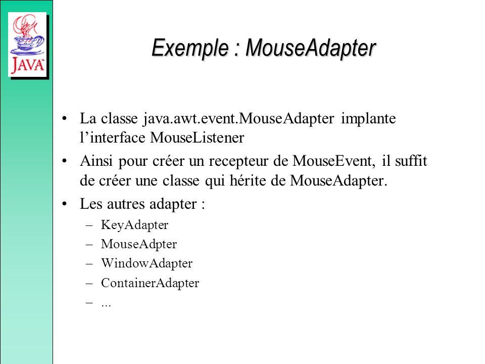 Exemple : MouseAdapter La classe java.awt.event.MouseAdapter implante linterface MouseListener Ainsi pour créer un recepteur de MouseEvent, il suffit de créer une classe qui hérite de MouseAdapter.