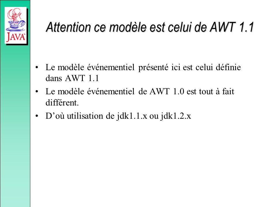 Attention ce modèle est celui de AWT 1.1 Le modèle événementiel présenté ici est celui définie dans AWT 1.1 Le modèle événementiel de AWT 1.0 est tout à fait différent.