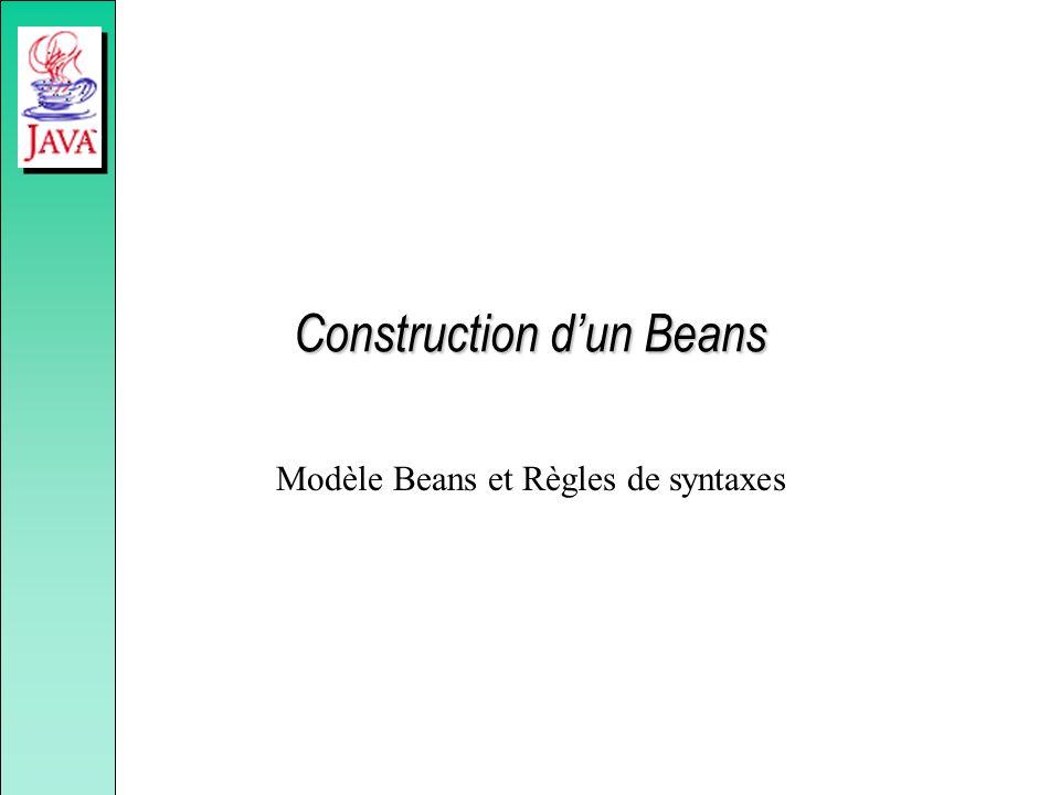 Construction dun Beans Modèle Beans et Règles de syntaxes