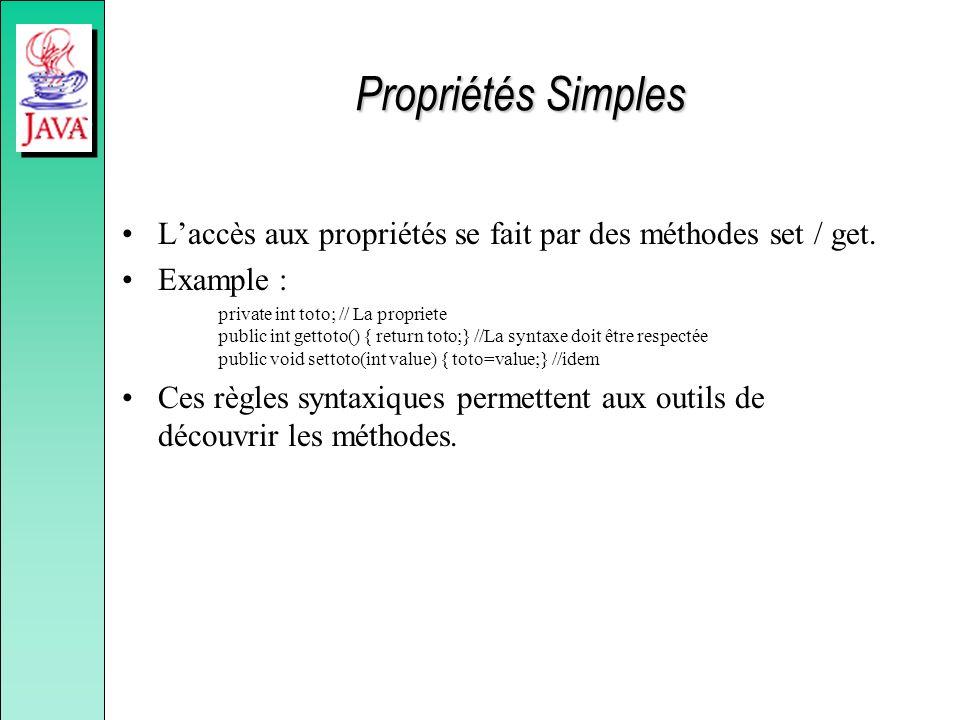 Propriétés Simples Laccès aux propriétés se fait par des méthodes set / get.