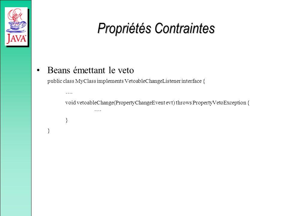 Propriétés Contraintes Beans émettant le veto public class MyClass implements VetoableChangeListener interface { ….