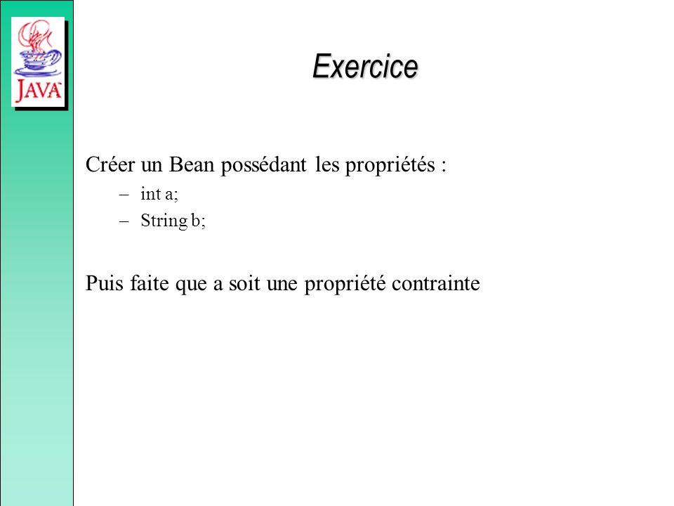Exercice Créer un Bean possédant les propriétés : –int a; –String b; Puis faite que a soit une propriété contrainte