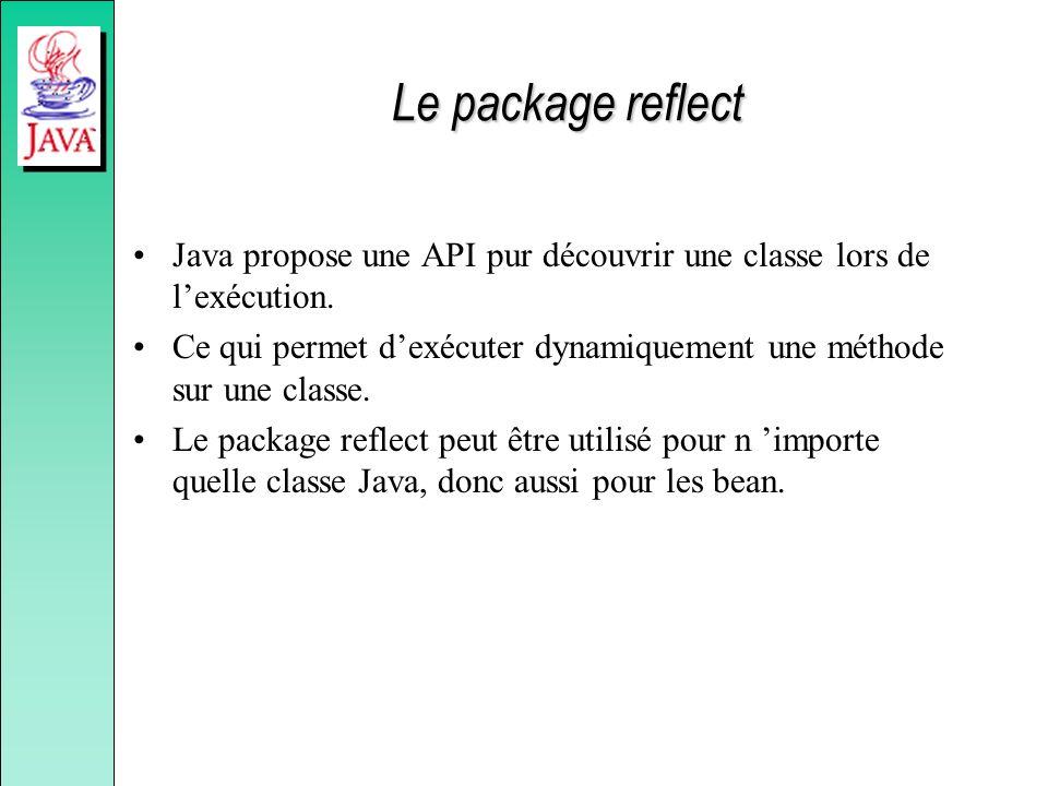 Le package reflect Java propose une API pur découvrir une classe lors de lexécution.