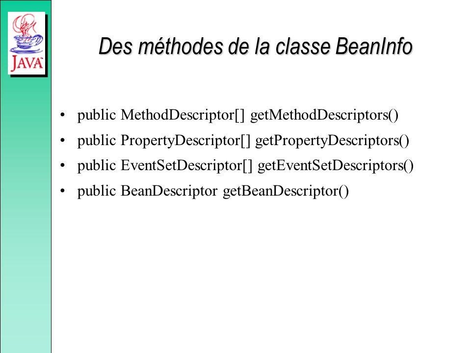 Des méthodes de la classe BeanInfo public MethodDescriptor[] getMethodDescriptors() public PropertyDescriptor[] getPropertyDescriptors() public EventSetDescriptor[] getEventSetDescriptors() public BeanDescriptor getBeanDescriptor()
