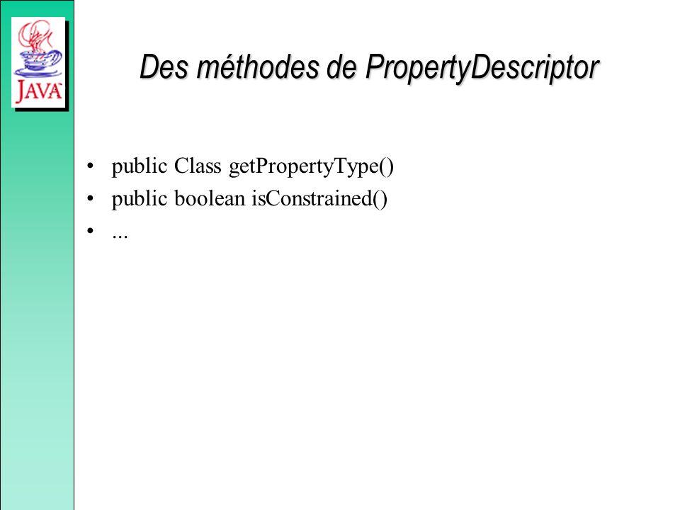 Des méthodes de PropertyDescriptor public Class getPropertyType() public boolean isConstrained()...