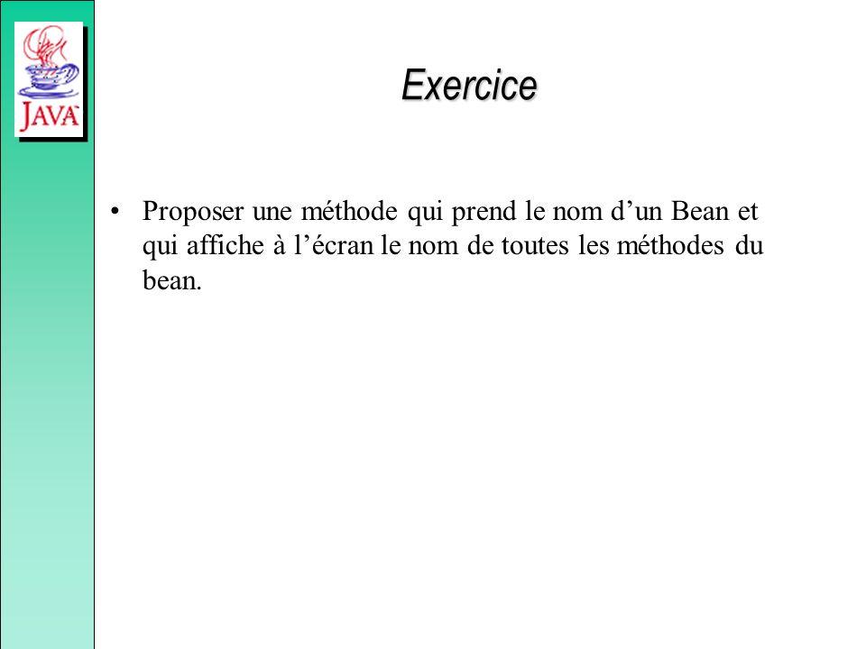 Exercice Proposer une méthode qui prend le nom dun Bean et qui affiche à lécran le nom de toutes les méthodes du bean.