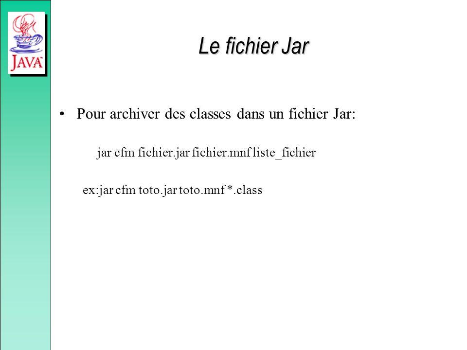 Le fichier Jar Pour archiver des classes dans un fichier Jar: jar cfm fichier.jar fichier.mnf liste_fichier ex:jar cfm toto.jar toto.mnf *.class
