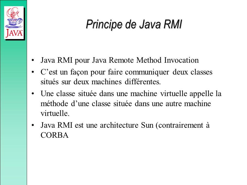 Principe de Java RMI Java RMI pour Java Remote Method Invocation Cest un façon pour faire communiquer deux classes situés sur deux machines différentes.