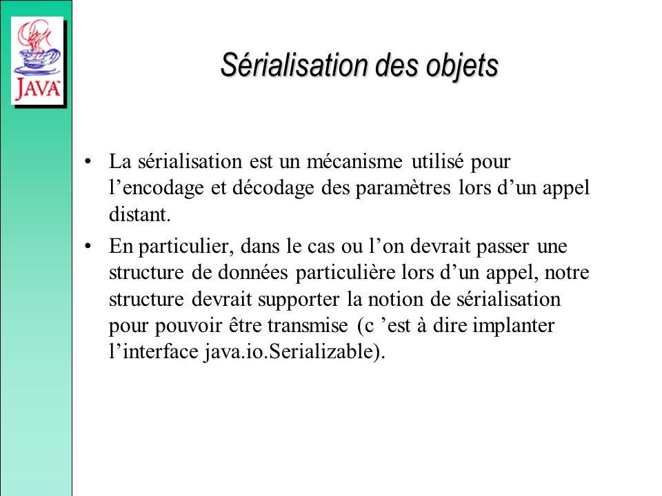 Sérialisation des objets La sérialisation est un mécanisme utilisé pour lencodage et décodage des paramètres lors dun appel distant.
