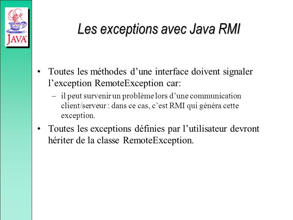 Les exceptions avec Java RMI Toutes les méthodes dune interface doivent signaler lexception RemoteException car: –il peut survenir un problème lors dune communication client/serveur : dans ce cas, cest RMI qui généra cette exception.