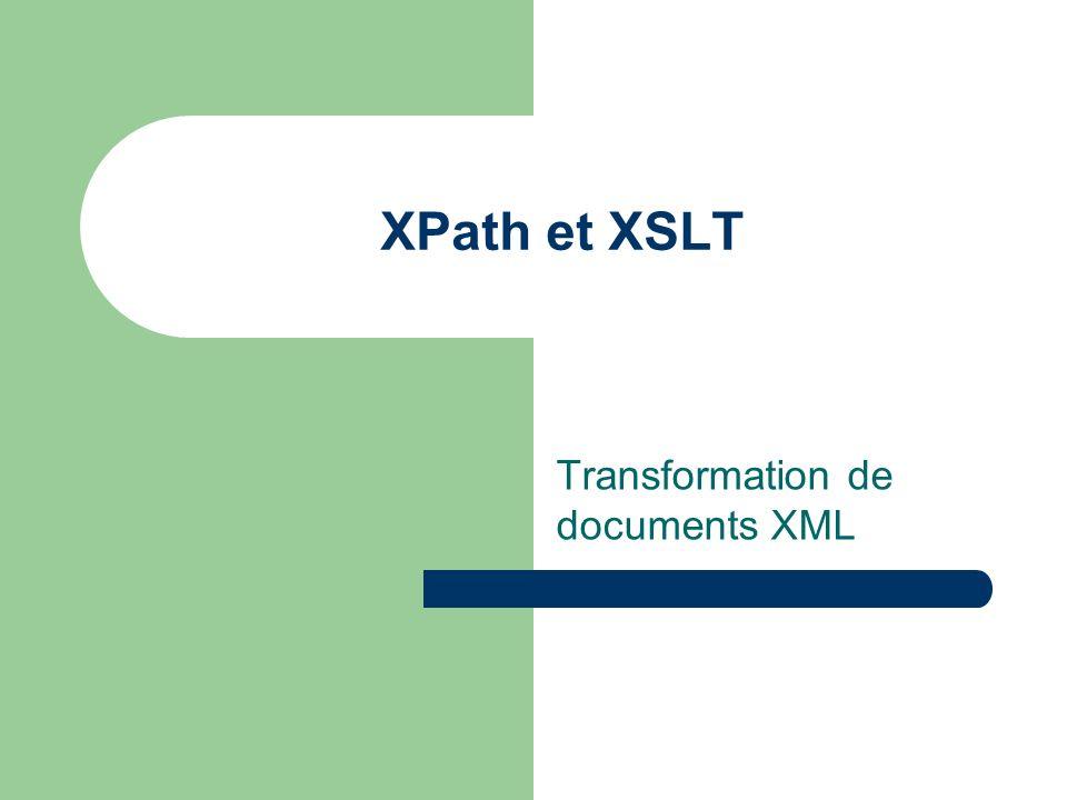 XSLT : XSL Transformation Partie de XSL Extensible Stylesheet Language Transformation de document XML Syntaxe XML Fonctionnement par pattern-matching W3C Recommandation November 1999