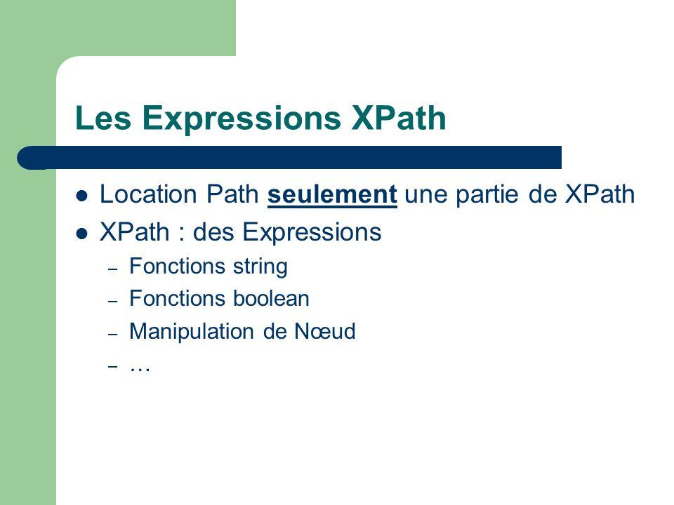 Les Expressions XPath Location Path seulement une partie de XPath XPath : des Expressions – Fonctions string – Fonctions boolean – Manipulation de Nœu