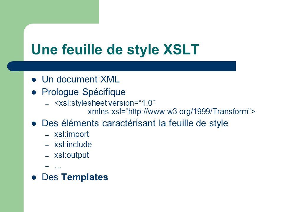 Une feuille de style XSLT Un document XML Prologue Spécifique – Des éléments caractérisant la feuille de style – xsl:import – xsl:include – xsl:output