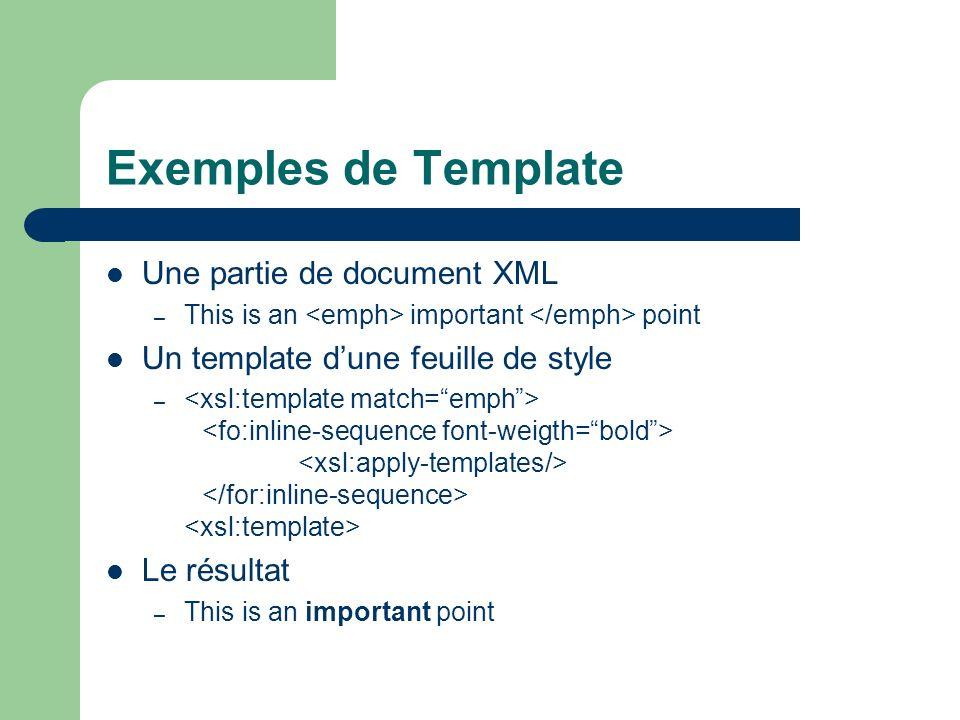 Exemples de Template Une partie de document XML – This is an important point Un template dune feuille de style – Le résultat – This is an important po