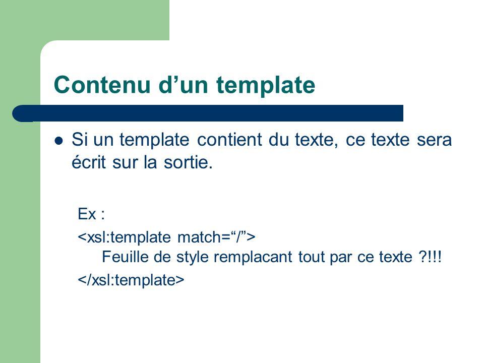 Contenu dun template Si un template contient du texte, ce texte sera écrit sur la sortie. Ex : Feuille de style remplacant tout par ce texte ?!!!