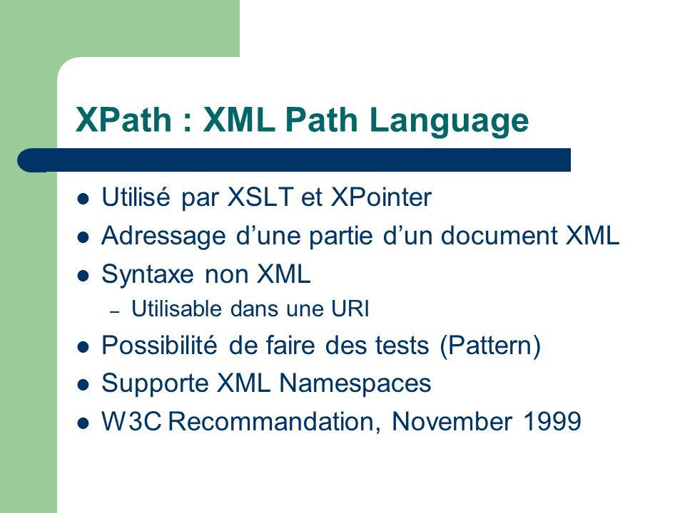 XPath : XML Path Language Utilisé par XSLT et XPointer Adressage dune partie dun document XML Syntaxe non XML – Utilisable dans une URI Possibilité de