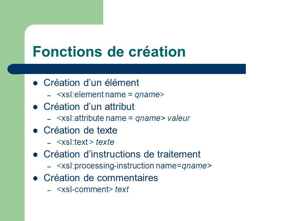 Fonctions de création Création dun élément – Création dun attribut – valeur Création de texte – texte Création dinstructions de traitement – Création