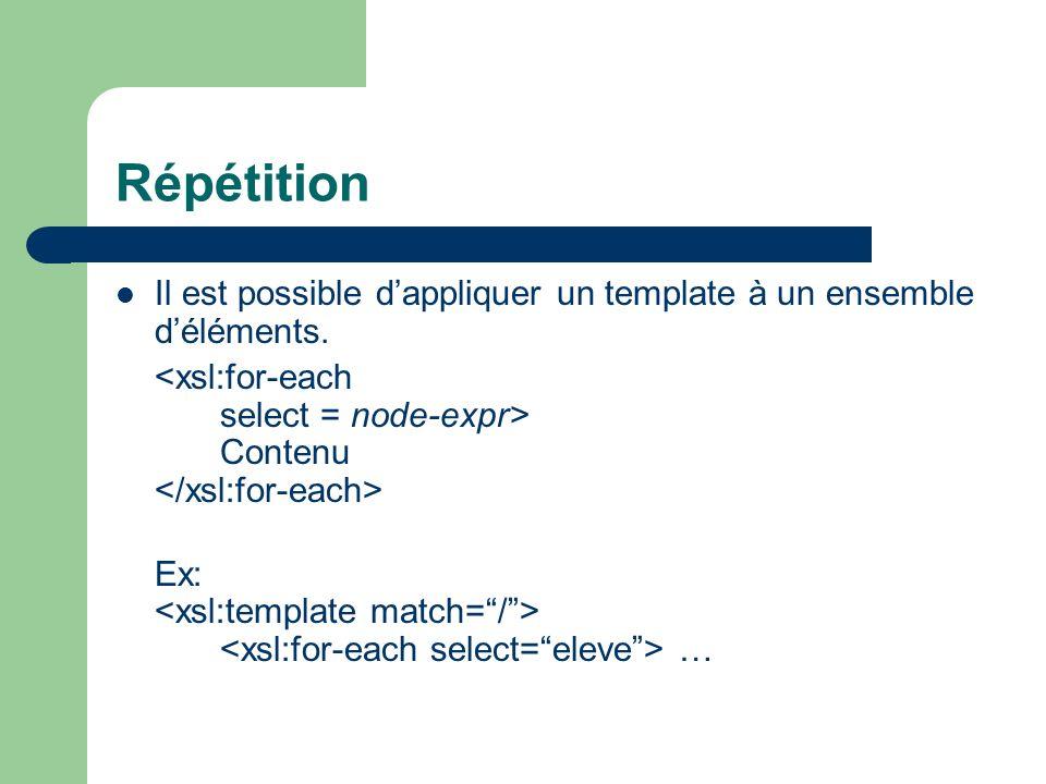 Répétition Il est possible dappliquer un template à un ensemble déléments. Contenu Ex: …