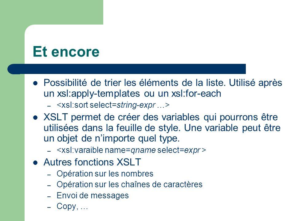 Et encore Possibilité de trier les éléments de la liste. Utilisé après un xsl:apply-templates ou un xsl:for-each – XSLT permet de créer des variables