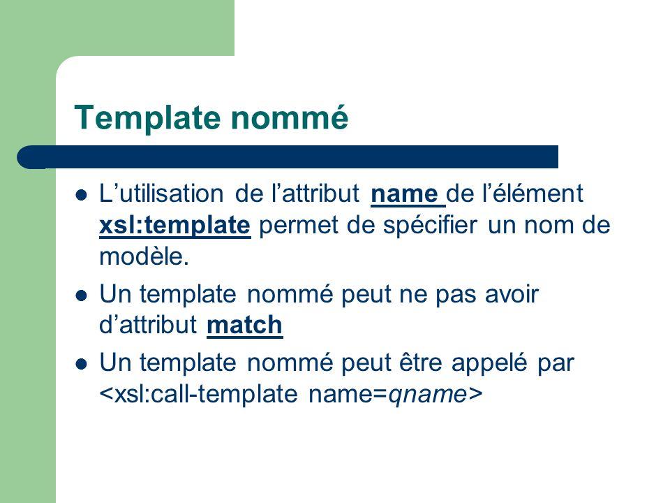 Template nommé Lutilisation de lattribut name de lélément xsl:template permet de spécifier un nom de modèle. Un template nommé peut ne pas avoir dattr