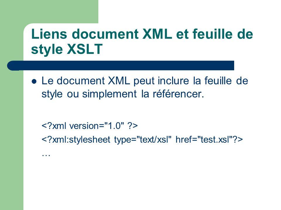 Liens document XML et feuille de style XSLT Le document XML peut inclure la feuille de style ou simplement la référencer. …