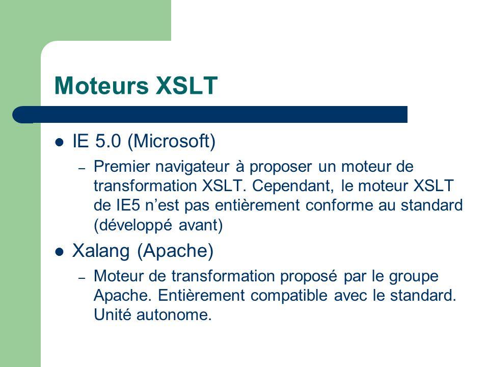 Moteurs XSLT IE 5.0 (Microsoft) – Premier navigateur à proposer un moteur de transformation XSLT. Cependant, le moteur XSLT de IE5 nest pas entièremen