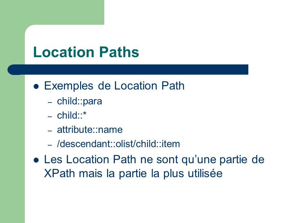 Location Path : Syntaxe Contexte – / : racine (Chemin Absolu) – : contexte courant (Chemin Relatif) Etape – Axe (fils, parent, …) suivi de :: – Test (Livre, …) – Prédicat pour affiner la sélection Possibilité de chaîner les étapes.