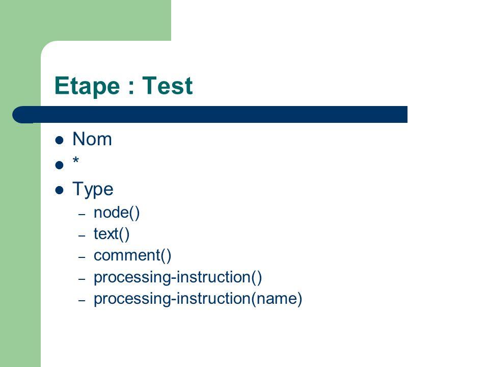 Etape : Prédicat [ Expression ] Quelques expressions – position()=3 – position()=last()-1 – attribute::type=warning Prédicats peuvent être chaîné [ ][ ]