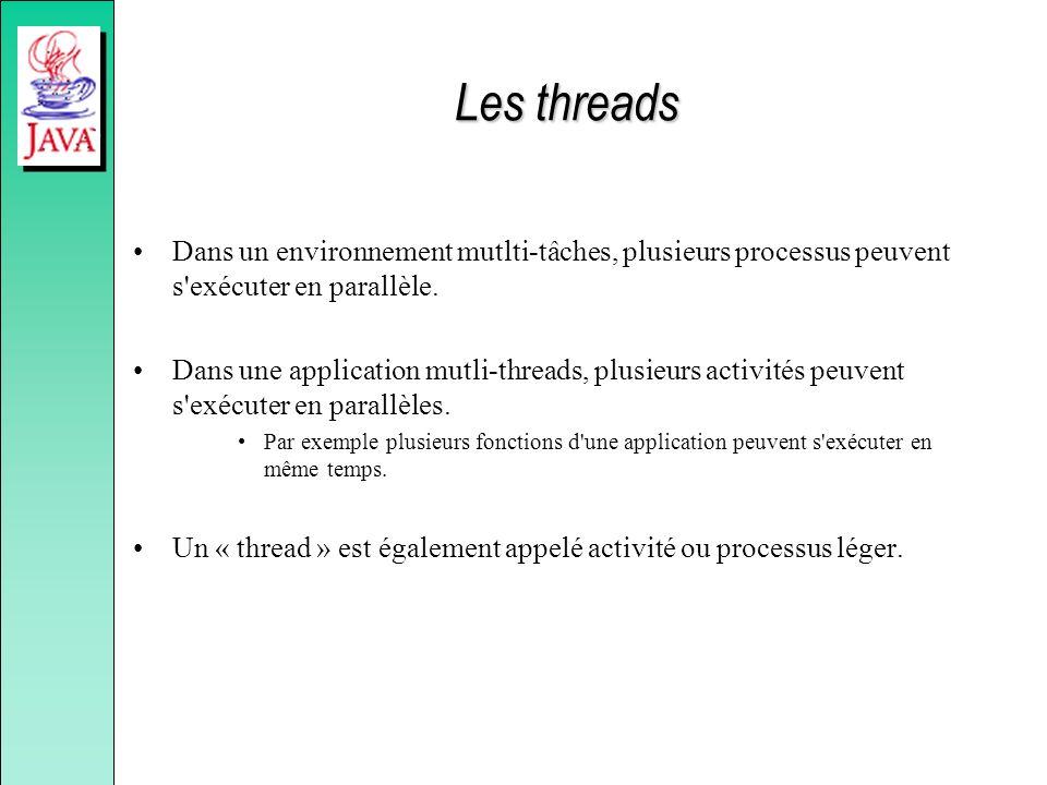 Les threads Dans un environnement mutlti-tâches, plusieurs processus peuvent s'exécuter en parallèle. Dans une application mutli-threads, plusieurs ac