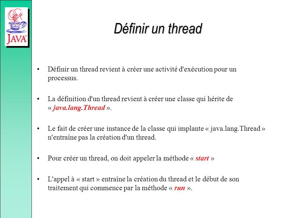 Définir un thread Définir un thread revient à créer une activité d'exécution pour un processus. La définition d'un thread revient à créer une classe q