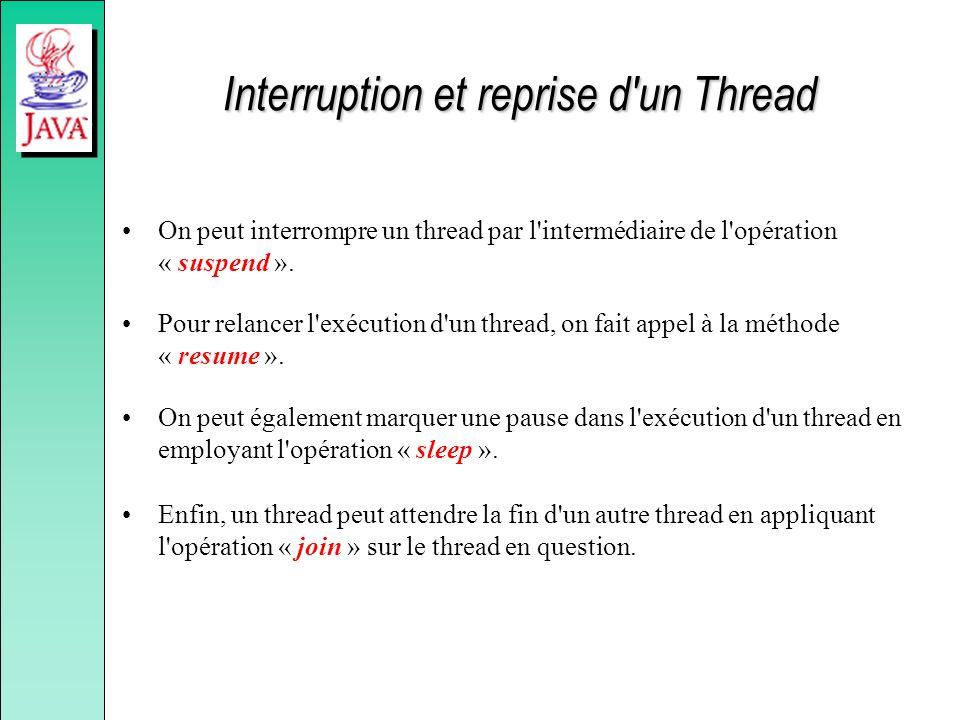 Interruption et reprise d'un Thread On peut interrompre un thread par l'intermédiaire de l'opération « suspend ». Pour relancer l'exécution d'un threa
