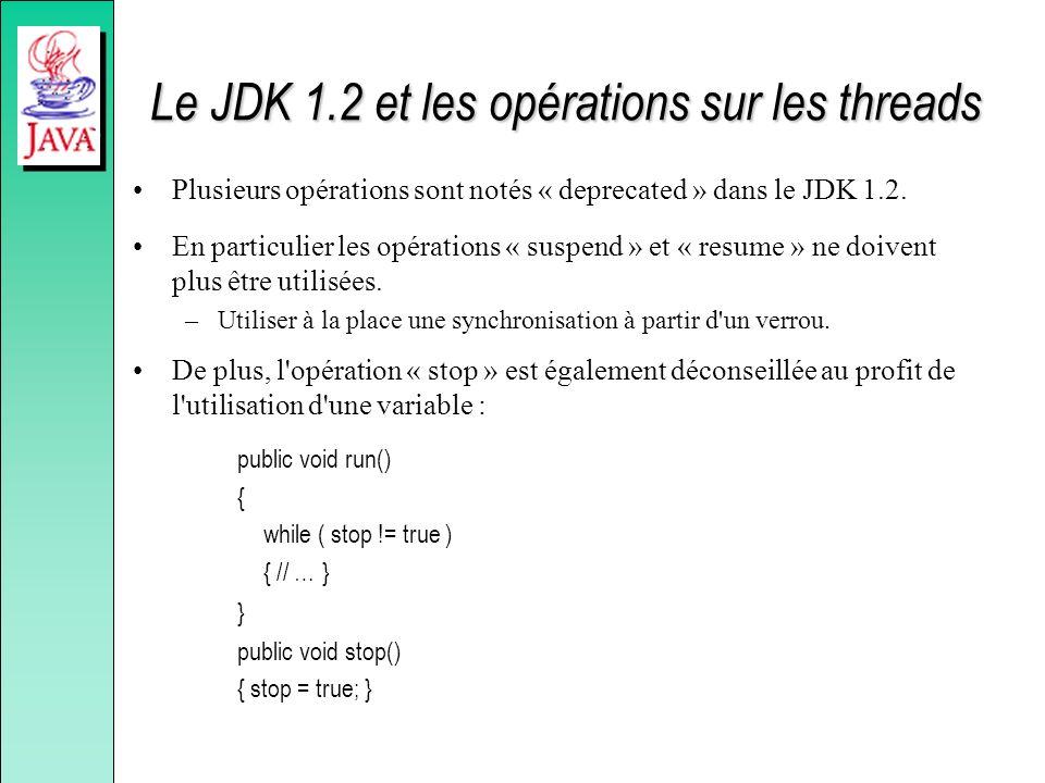 Le JDK 1.2 et les opérations sur les threads Plusieurs opérations sont notés « deprecated » dans le JDK 1.2. En particulier les opérations « suspend »