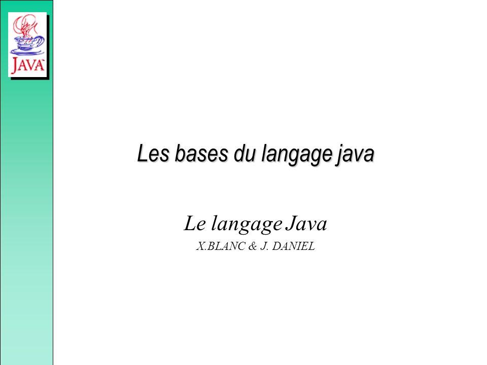 Les bases du langage java Le langage Java X.BLANC & J. DANIEL