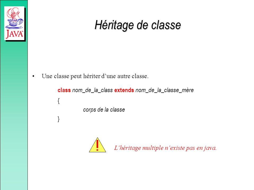 Héritage de classe Une classe peut hériter dune autre classe. class nom_de_la_class extends nom_de_la_classe_mère { corps de la classe } Lhéritage mul