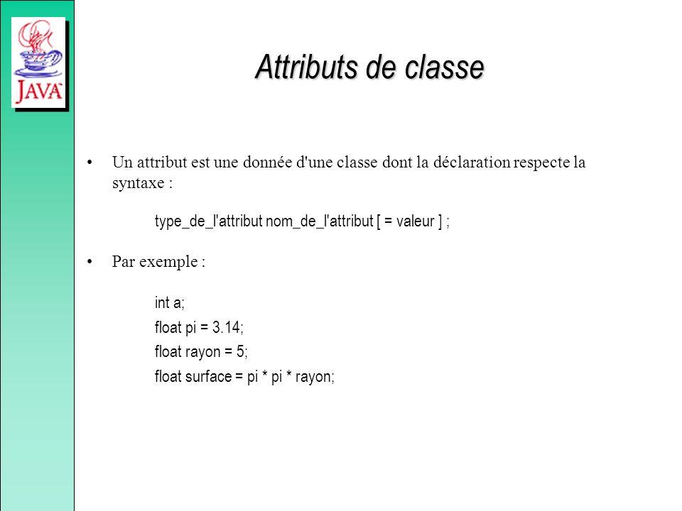 Attributs de classe Un attribut est une donnée d'une classe dont la déclaration respecte la syntaxe : type_de_l'attribut nom_de_l'attribut [ = valeur