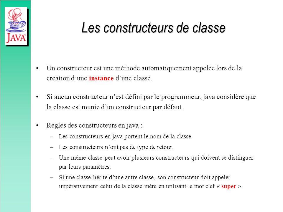 Les constructeurs de classe Un constructeur est une méthode automatiquement appelée lors de la création dune instance dune classe. Si aucun constructe