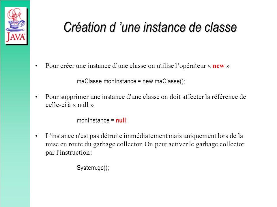 Création d une instance de classe Pour créer une instance dune classe on utilise lopérateur « new » maClasse monInstance = new maClasse(); Pour suppri