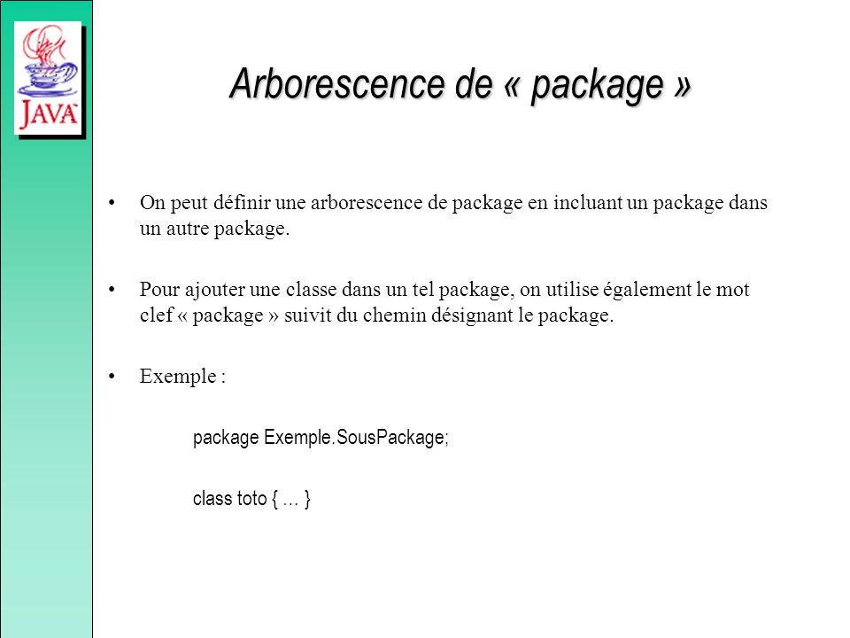 Arborescence de « package » On peut définir une arborescence de package en incluant un package dans un autre package. Pour ajouter une classe dans un