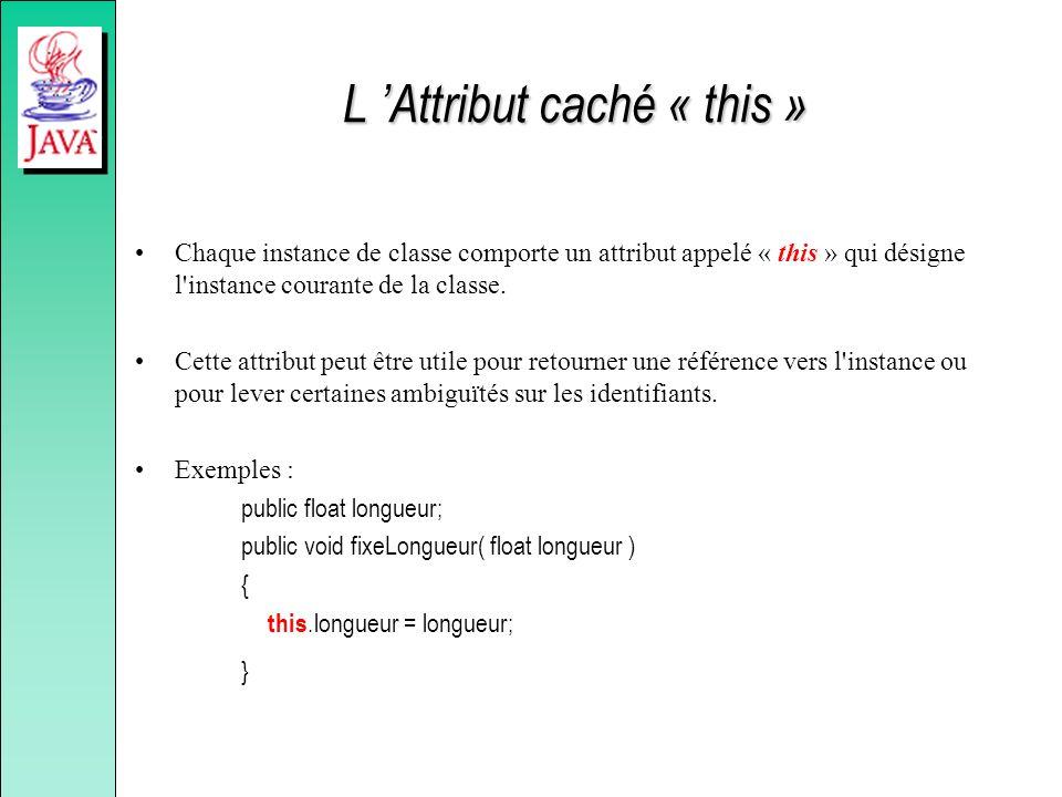 L Attribut caché « this » Chaque instance de classe comporte un attribut appelé « this » qui désigne l'instance courante de la classe. Cette attribut